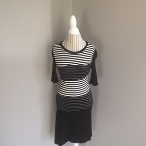 BCBG Maxazria black&white asymmetrical dress